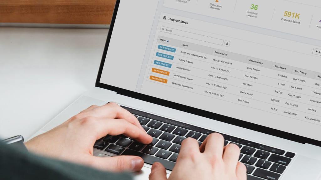 Public procurement professional accessing the new Bonfire on their laptop