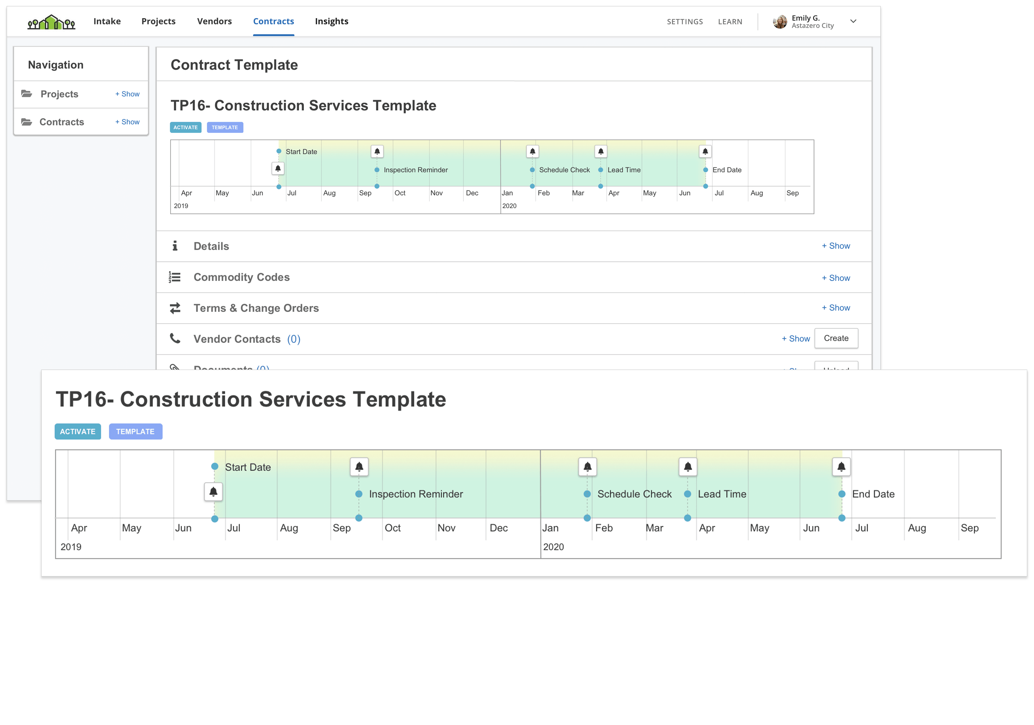 sample product screenshot of contract template in Bonfire